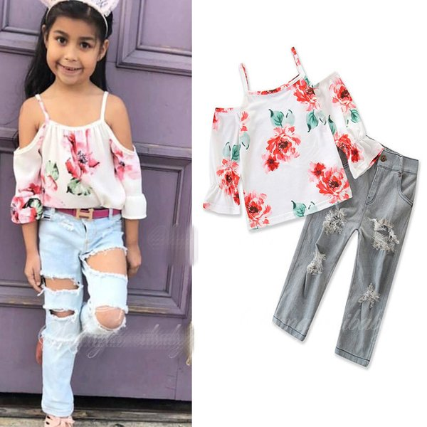 Girls INS fashion set 2018 new Children long sleeves flower top +Ripped jeans 2 pieces set suit Baby kids clothing B001