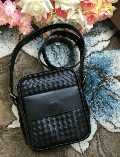 new Men's bag saleman messenger bag handmade material crochet cross body handbag classic soft genuine leather handbag simple kintting bag