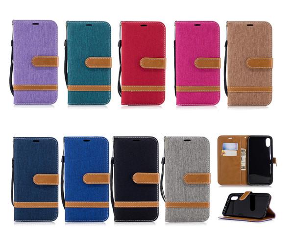 Custodia a portafoglio in pelle ibrida a portafoglio con retro jeans flip denim per iPhone X XR XS Max 8 7 6 Samsung S7 S8 S9 Plus Nota 9 J2 Pro A6 A8 J4 J6 2018