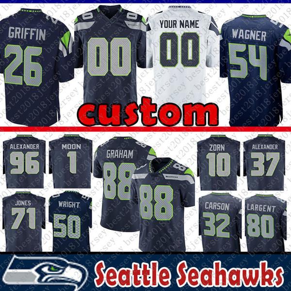 free shipping e3865 c1a8b 2019 26 Shaquill Griffin Custom Jersey Seattle Seahawks Wagner 1 Warren  Moon 10 Jim Zorn 37 Alexander 96 Kennedy 71 Jones 15 Marshall 80 Largent  From ...