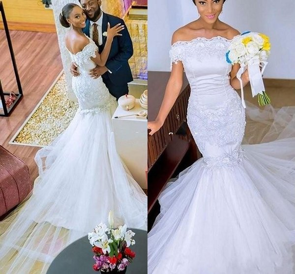 2018 Elegant Off The Shoulder Mermaid Wedding Dresses Sexy Lace Appliques Beaded Tulle Court Train Backless African Bridal Gowns Vestidos