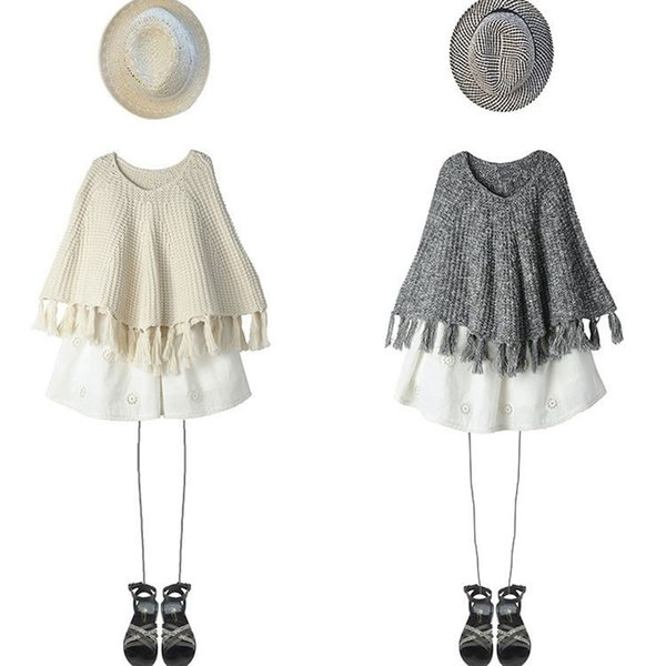 Fashion Style Girls Knitted Sweaters Tassel Cape Girl Pullovers Poncho Cloak Autumn Winter Children Clothing Kids Knit Sweater