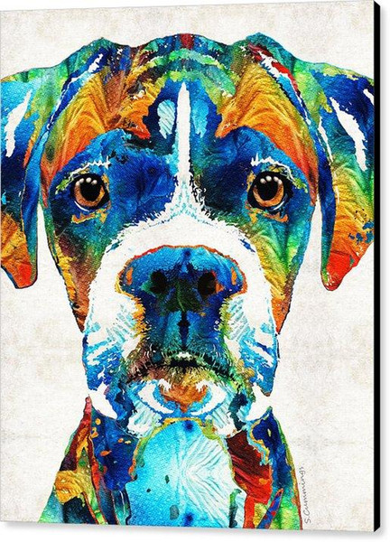 Colorful Boxer Dog Art By Sharon Cummings Canvas Print painting arts and canvas wall decoration art Oil Painting on Canvas No Wrap - Rolled
