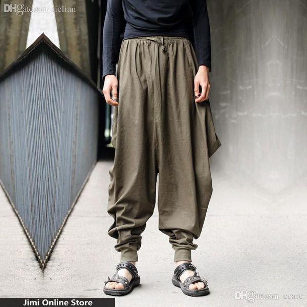 Wholesale-Hip hop men pants big loose long trousers casual joggers men punk solid men's retro-casual custom designs cool hemp harem
