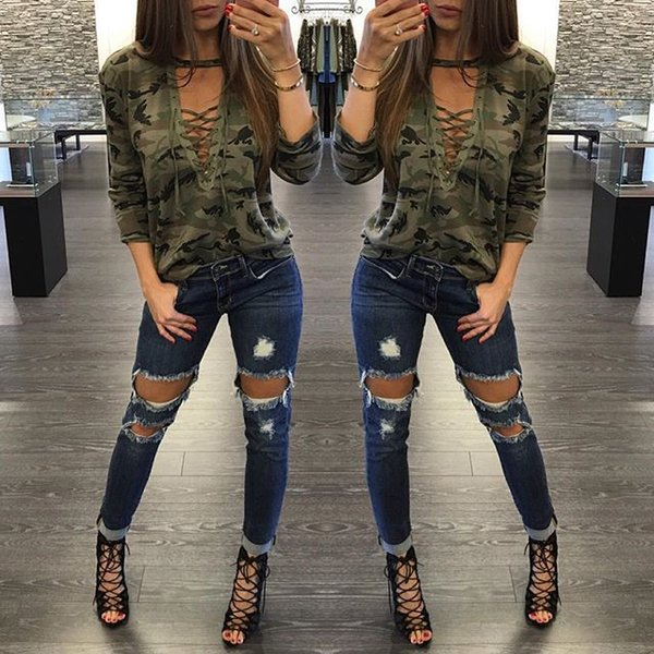 best selling 7 COLOR Women Camouflage V Neck Lace Up Halter Top Shirt Sexy Shirts Ladies Loose Bandage Camo Tee Tracksuit Female