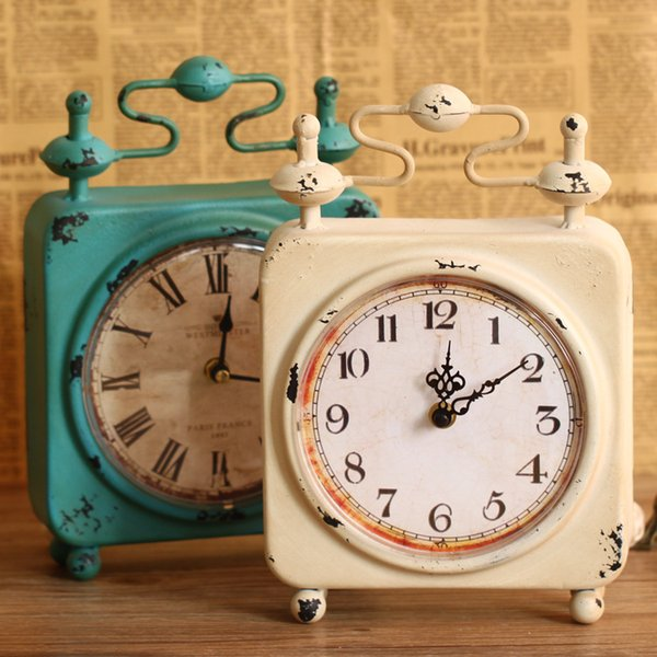 TUDA Free Shipping 7 Inch Retro Design Square Metal Table Clock American Country Style Table Clock for Living Room Desk