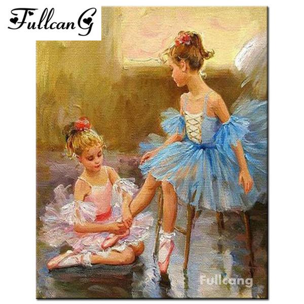 FULLCANG 5D diamond embroidery ballerina diy diamond painting cross stitch full square mosaic diamond pattern portrait F268