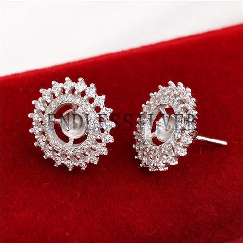 Stud Earring Settings Blank Base Zircon Sun Design 925 Sterling Silver Jewellery Findings for Pearl Party