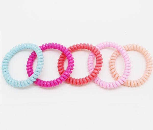 여자, 뜨거운 판매 전화 머리 끈, 긴 머리에 대 한 다채로운 얇은 전화선, 패션 밧줄 포니 테일 홀더에 대 한 10pcs / 가방 머리 elastics