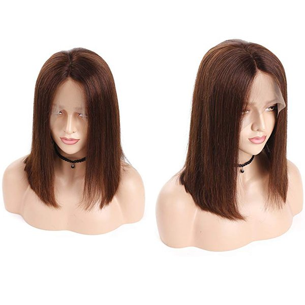 #4 Bob Lace Front Wig Human Hair With Baby Hair Peruvian Remy Brown Bob Wig For Women Gluless Pluck Full End Lace Wig