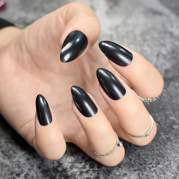Pure Black Stiletto Falsche Nägel Solid Black Oval Scharfe ende Gefälschte Nägel Tipps Spitz Kopf Voll Künstliche für Lady Daily