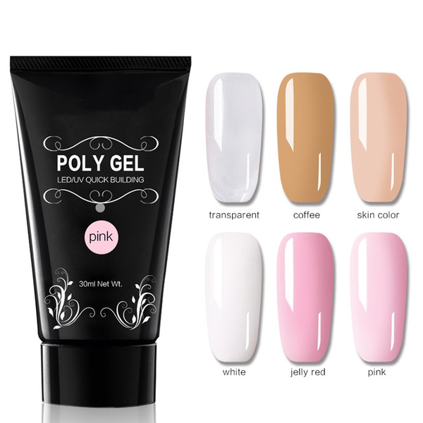 30ml Poly Gel Nail Art French Manicure Trasparente Camouflage Polygel 6 Colori Quick Building Nail Estendere Gel UV Crystal HO92