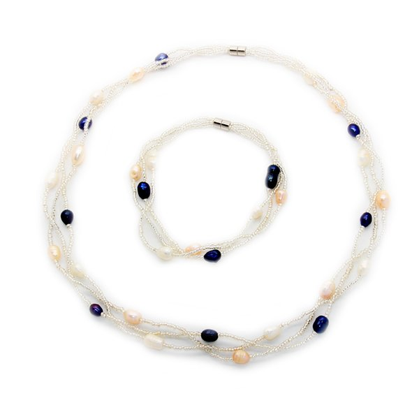 Fashion charm jewelry natural freshwater pearl jewelry set Magnetic buckle pearl necklace and bracelet set wholesale