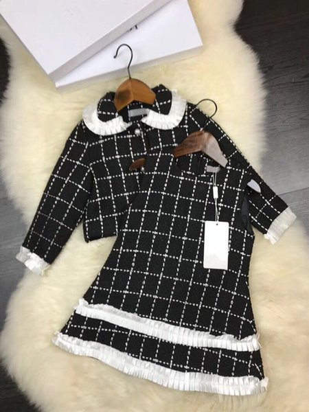 2 piece 2018 Baby Girls set Spring Autumn Girls suit Children luxury brand Princess Dress Lapel coat+vest dress Kids Clothes
