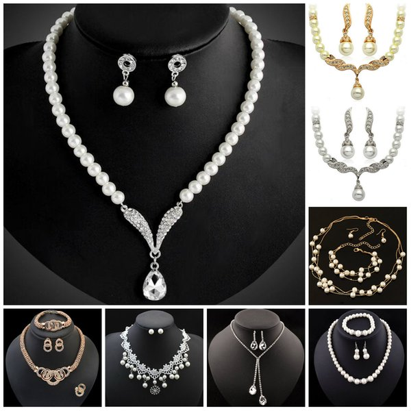 Bridesmaid Jewelry Set for Wedding Crystal Rhinestone Tear Drop-Shaped Fashion Jewelry Pearl Necklace pendants Earring Party Jewelry Sets