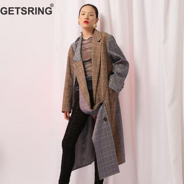 GETSRING Women Trench Coat Plaid Patchwork Asymmetries Windbreaker Long Sleeve Split Double Breasted Coat Variety Wear Overcoat