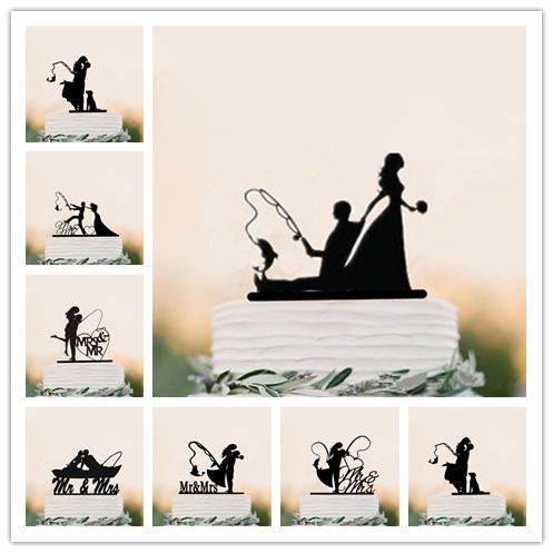 2019 Funny Wedding Cake Topper Fishing Style Bride Groom Mr Mrs Cake Toppers With Pet Black Acrylic From Periwinkle 39 62 Dhgate Com