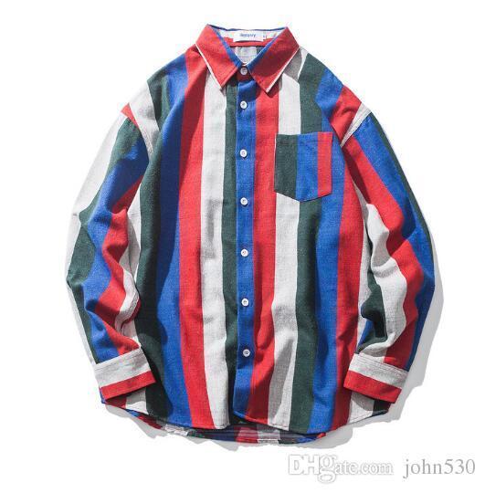 New fashion Harajuku style color vertical striped shirt jacket men and women models couple loose shirt