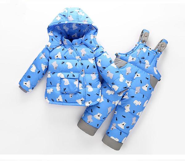 baby kids down suit hooded top+romper pants/set coogan winter outfit Snowsuit children's Jackets Ski outwear clothing sets