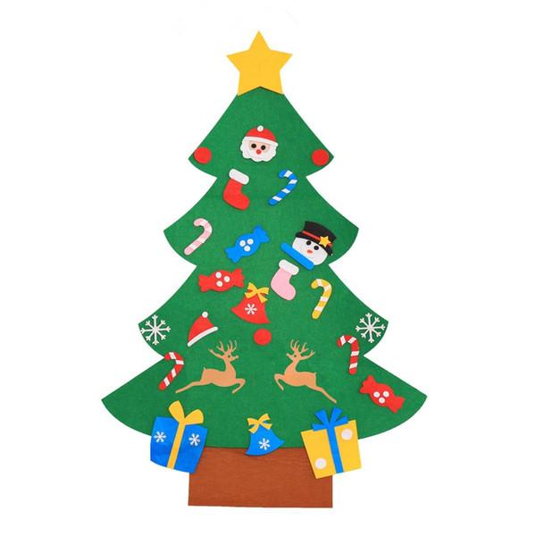 Kinder DIY Filz Weihnachtsbaum mit Ornamenten Kinder Weihnachtsgeschenke für 2018 New Year Tür Wandbehang Weihnachten Dekoration LE171
