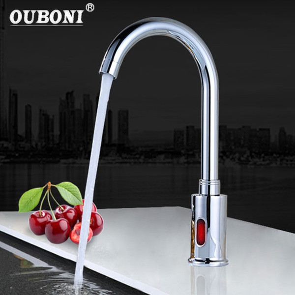 2019 OUBONI New Auto Sensor Faucet Modern Kitchen Bathroom Automatic Hands  Touch Free Sensor Basin Chrome Brass Sink Mixer Tap Faucet From ...