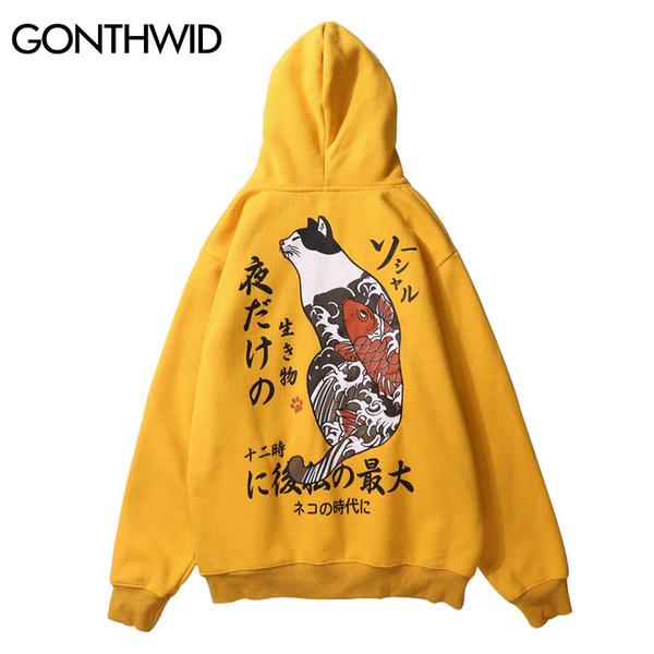 GONTHWID Japanese Ukiyo Cat Printed Fleece Hoodies Mens 2018 Hip Hop Pullover Hooded Sweatshirts Streetwear Male Fashion Hoodie