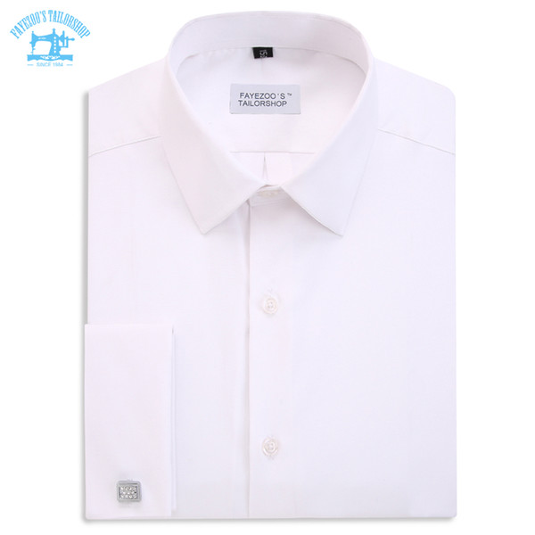 New Design! No Thread! Fayezoo's Slim Fit White Sartorial French Double Cuff Formal Business Dress Shirt