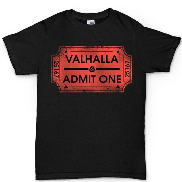 Men T-Shirt Men Clothing Plus Size Top Tee Ticket To Valhalla Vikings Norsk T Shirt Short Sleeve Cool Casual