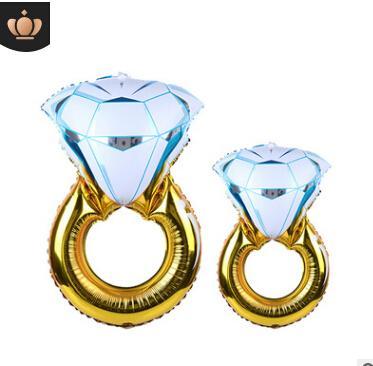 Anillo de diamante súper grande Anillo de aluminio Mini Anillo de diamante azul rosa Globos de aire de papel de aluminio I DO Globo de compromiso de la boda