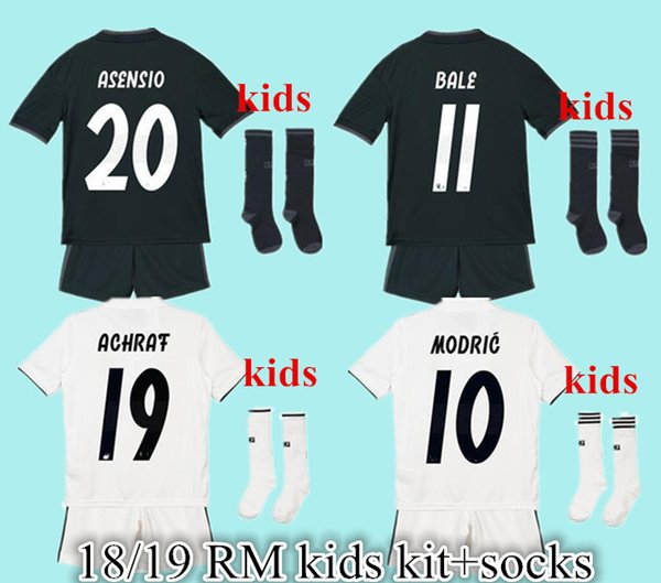 home white kids +Socks 2018 2019 Real Madrid RONALDO modric arsensio soccer jerseys full sets boys child kits BALE football shirts..