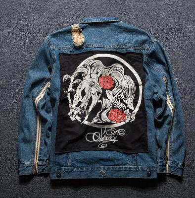 Men's Clothing Graffiti Patch cloth denim Jackets male Skull cartoon pattern Jacket Hip Hop frayed broken coat