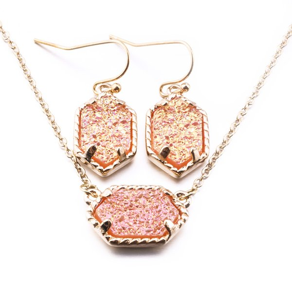 best selling 15 Golden Styles Jewelry Sets Druzy Drusy Earrings Necklace Kendra Scott Necklaces Message Mixed Colors Geometric Sets Jewelry