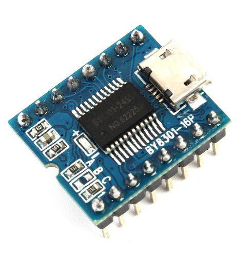 Free shipping! 1pc/lot MP3 Player Module Mini MP3 Player Audio Voice Module Board BY8301-16P 32Mbit 4Mbyte Support USB Download