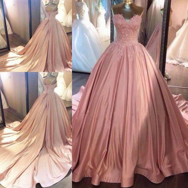 Compre 2018 Rosa Quinceañera Vestido Princesa Apliques Corsé Espalda ...