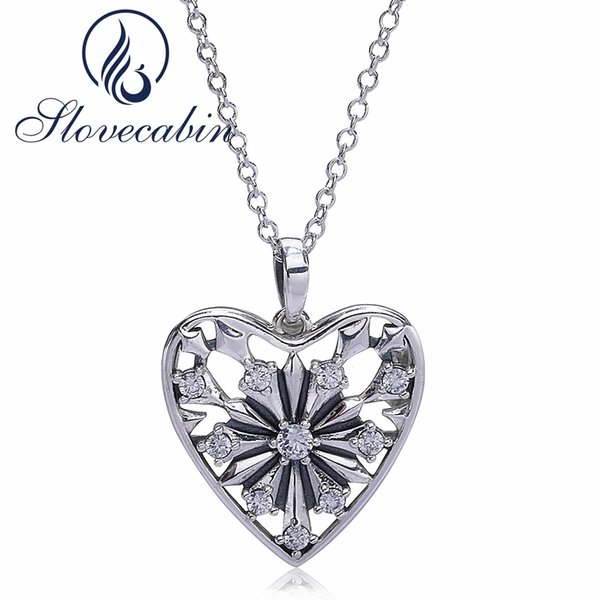 Slovecabin 2017 Autumn 925 Sterling Silver Heart Snowflake Pendant Necklace For Women Silver Link Chain Heart Wedding NecklaceY1883003