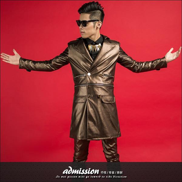 braun lang jakcet outfit blazer mantel männlich sänger abschlussball kostüm mann host stern bühne laden gezeiten tänzerin nachtclub leistung zeigen