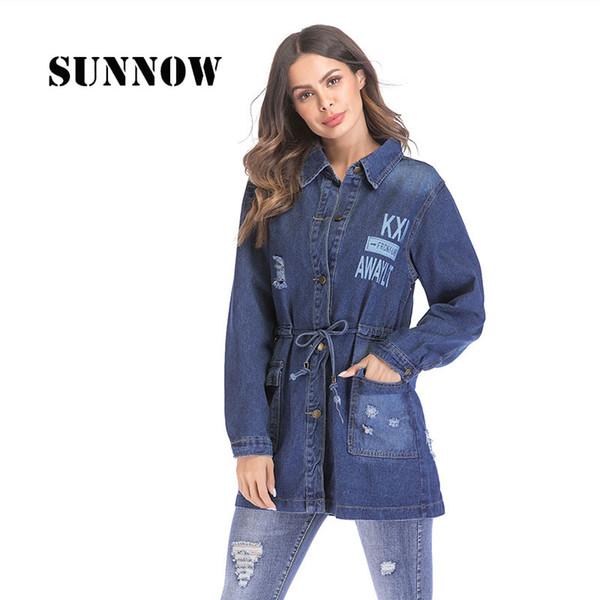 SUNNOW Women Denim Coats Regular Full Sleeves Cotton Outwear Long Wide-waisted Jackets High Streetwear Fation Style Coats