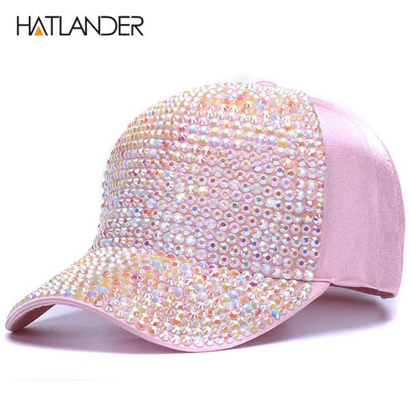 [HATLANDER]Womens Rhinestone baseball caps Female luxury Bling hats outdoor diamond sun hat Girl snap back gorras sports hat cap