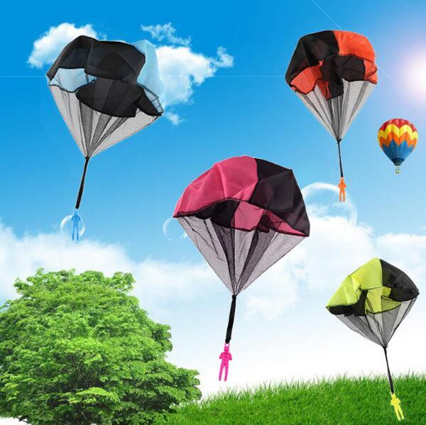 Kids Children Hand Throwing Mini Soldier Parachute Kite Outdoor Educational Toy