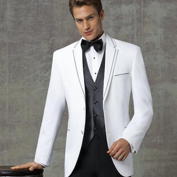 Classic Design Two Button White Groom Tuxedos Notch Lapel Groomsmen Mens Wedding Suits Excellent Man 3 Piece Suits(Jacket+Pants+Vest+Tie) 90