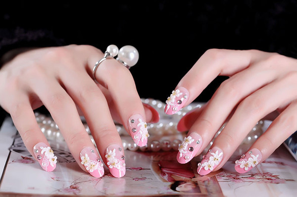 24Pcs/set Long French False Nails Pink Acrylic Classical Full Artificial False Nails tips for Home Office faux ongles