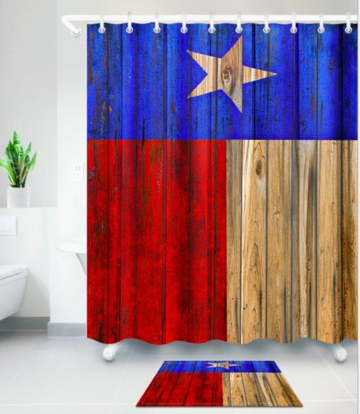 TEXAS STAR pattern 3D Print Custom Waterproof Bathroom Modern Shower Curtain Polyester Fabric Bathroom Curtain Door mat sets