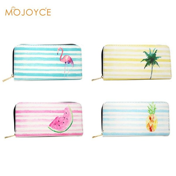 2018 Fashion Pu Leather Women Clutch Portable Stripes Cartoon Print Long Wallet Zipper Envelope Bag Coconut Tree Printing Bags