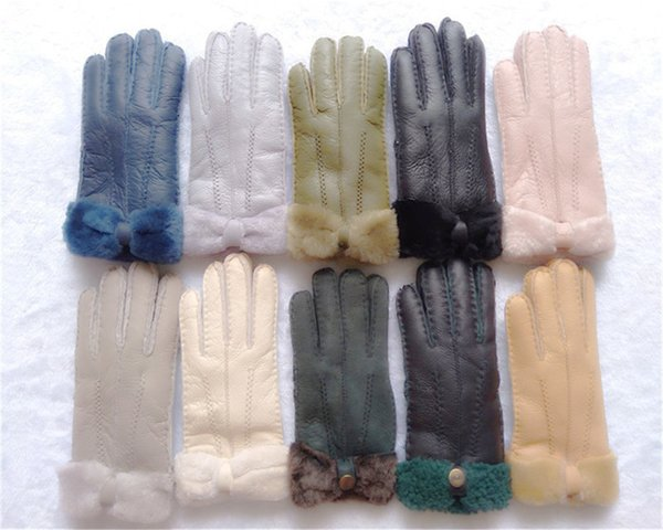 Winter New Women Warm Wool Gloves 100% Leather Gloves Leisure