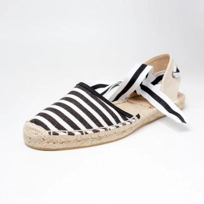 Women Canvas Espadrilles, Black/White/Sky Blue Striped Flats, Ladies Ankle Strap Hemp Bottom Fisherman Shoes For
