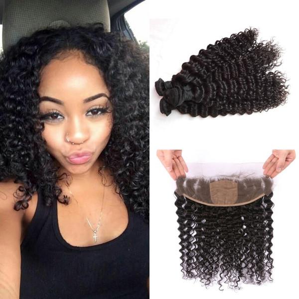 Silk Lace Frontal With Bundles 4pcs Lot Natural Black Mongolian Deep Wave Human Hair Weaves Closure G-EASY
