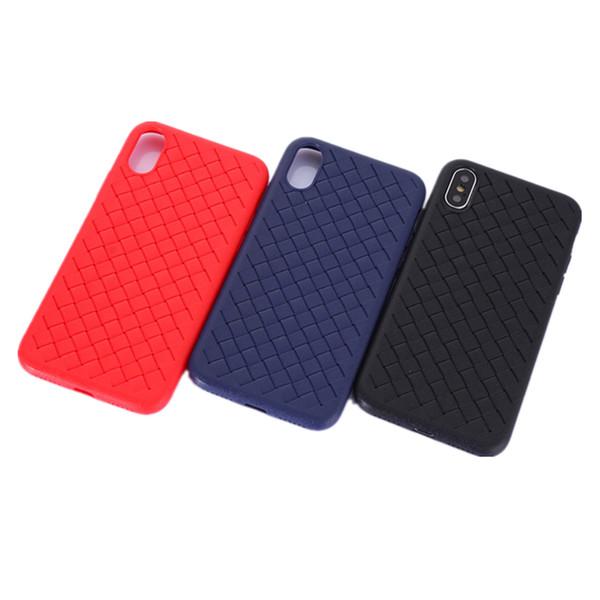2018 Mode En Cuir Tricoté Tissé Texture Ultra-mince Étui TPU Souple pour iPhone X 6 7 8 Plus Pour Samsung S9 S9