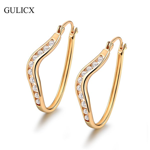 small hoop earrings GULICX Small Hoop Earrings for Women New Designer Gold-color Earrging White Zircon Crystal Wedding Jewelry E153