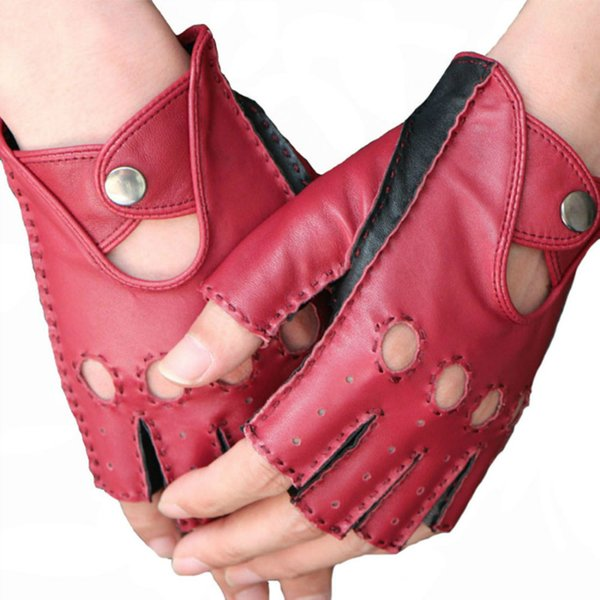 Women Lady Fashion Half Finger Fingerless Glove Motorcycle Cycling Driving Genuine Leather Gloves Dance Performance Jazz Style