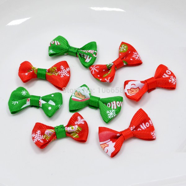 100pcs or 50Pcs/lot 40MM Small Christmas Ribbon Pet Bowknot Craft ONLY BOW NO CLIPS DIY Bow Tie Wedding Decor Hair Accessories